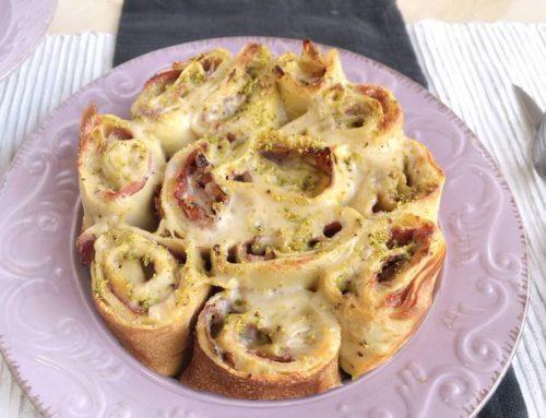 Girelle di ricotta e spinaci al prosciutto e pistacchi